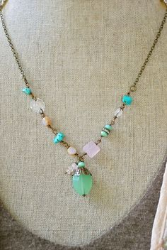 Emma. bohemian beaded turquoisegemstone by tiedupmemories on Etsy, $42.00