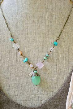 Emma. bohemian beaded turquoisegemstone by tiedupmemories on Etsy, $42.00