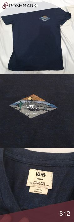 Vans Men's Medium desert theme blue t-shirt,Used Vans Men's Medium desert theme blue and white short sleeve. Used, Only worn for a photo. Pictures provided of condition. All bundles of 2 or more receive 15% off. Closet full of new, used and vintage Vans, Skate and surf companies, jewelry, phone cases, shoes and more. Vans Shirts Tees - Short Sleeve