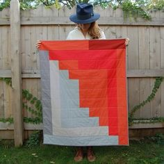Love this giant log cabin! One block out of large strips to make the whole quilt.