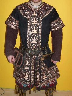 Appliqued Leather- completely underutilized in SCA and reenactment.  Looks great.