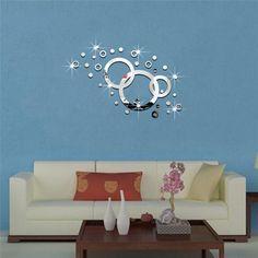 Decoratiune interioara pentru sufragerie sau dormitor, din material acrilic tip oglinda, sticker perete