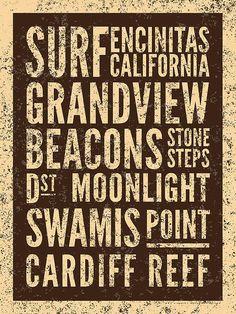 Surf Encinitas California Poster By Mark Brown