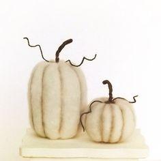 Pumpkin Autumn Home Decor in Cream Wool Set by FoxtailCreekStudio, $18.00