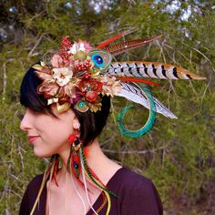 SOLSTICE PIXIE Feather Headdress SALE by FeatherPixie on Etsy, $59.00