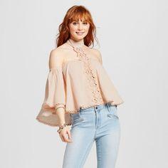 Women's Crochet Choker Bell Sleeve Top Blush XL - Love @ First Sight (Juniors'), Pink