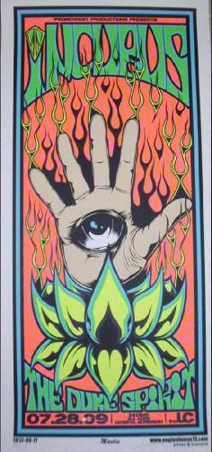 Original silkscreen concert poster for Incubus at Lifestyle Communities Pavilion in Columbus, Ohio in 2009. 12 x 26 inches. Signed and numbered out of 200 by the artist Mike Martin