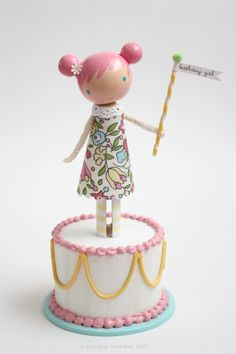 lolli and her little birthday cake cake topper by lollipopworkshop