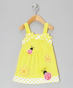 Take a look at this Yellow Ladybug Knot Jumper - Infant by Unik on #zulily today!