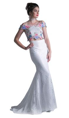 If you are looking for that figure flattering dress then this two piece dress by Cinderella Divine CA314 is a brilliant choice. This two piece dress showcases an off the shoulder neckline with crop top designed with beautiful floral embroidery. The lace skirt sculpts your figure with its mermaid silhouette and brings drama to the look with a sweep train finish. This Cinderella Divine style is sure to be an attention-grabber in any occasion. Prom Dresses Under 100, Prom Dresses Two Piece, Prom Dresses With Sleeves, Prom Dresses Online, Two Piece Dress, Short Dresses, Mermaid Skirt, Crop Top Designs