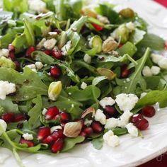 Arugula with Pomegranates, Blue Cheese and Pistachios Recipe