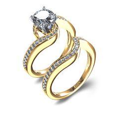 Pave Twist 2/3 ctw Diamond Wedding Set in 14k Yellow Gold
