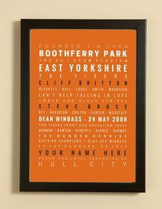 8f66775ae51 Football Word Art Print showcasing words, facts, dates and players  associated with Hull City FC. Personalise the print with a person& name.