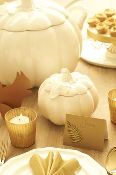 Martha Stewart for Macy's pumpkin tureens, Martha Stewart Crafts metal fern sticker, Paper Source squirrel and paper