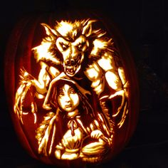 Red Riding Hood  pattern from Stoneykins.com Carved by WynterSolstice on a foam pumpkin