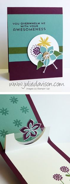 VIDEO & PDF Tutorial for Half Circle Pop Up card featuring Stampin' Up! Flower Patch stamp set #stampinup www.juliedavison.com