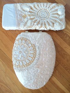 This Beautiful set of Toilet Seat Lid and Tank Lid Covers is a One of a kind Original Handmade Treasure. I made these with Vintage Crocheted Linens, Lace, Doilies and fabric. I assemble these with elastic for a snug fit and so theyre easily removed for laundering.  The set is completely Washable... because I double and triple sew everything, you can toss it right in the washer and dryer with the rest of your laundry as often as you like. I do suggest you put them in a lingerie bag to wash…