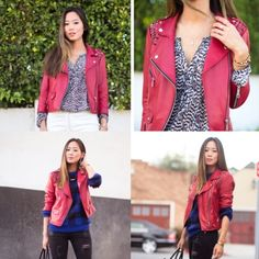 Rebecca Minkoff red embellished leather jacket XS As seen on Song of Style. Sold out everywhere. Cropped moto style. Like new condition. buttery lamb skin leather. Org $598 Rebecca Minkoff Jackets & Coats