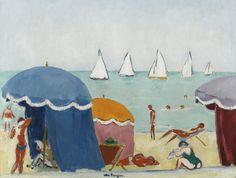 Kees Van Dongen - La plage à Deauville