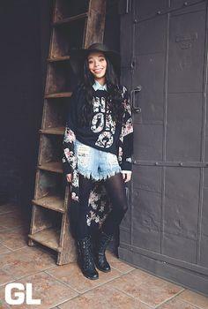 Kimono Cutie #layers #kimono #floppyhat #floral #combatboots