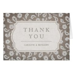 #rustic - #Lace and burlap rustic country wedding thank you card