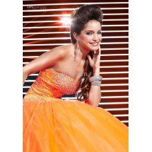 Orange Ball Gown Strapless Beaded Princess Lace Up Back
