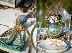 Maine coastal wedding table setting by daisies & pearls, captured by Hailey Tash Photograhy