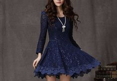 Lace dress with Sequins Little blue dress Long by Fashiondress1, $65.99