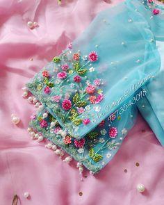 Designer boutique in MVP colony Contact us - DM FOR PR Wedding Saree Blouse Designs, Half Saree Designs, Fancy Blouse Designs, Blouse Neck Designs, Netted Blouse Designs, Blouse Patterns, Hand Work Blouse Design, Stylish Blouse Design, Embroidery Neck Designs