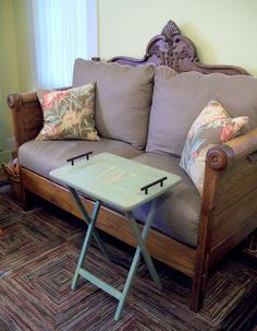 Make your cheap TV tray table a piece to show off. Turn an old bed frame into a gorgeous loveseat.