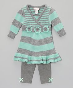 Take a look at this Seafoam Stripe Tunic & Leggings - Infant, Toddler & Girls on zulily today!