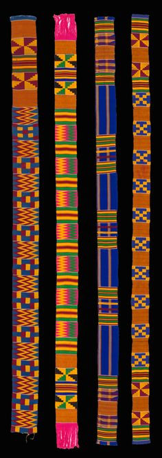 Africa | Four narrow woven 'Kente' strips from Ghana; patterns are formed by alternating warp-faced plain weave with weft-faced plain weave on grouped warps, two-color complementary wefts, and supplementary weft patterning (brocading) | Silk, rayon or cotton | Acquired as a gift in 1969