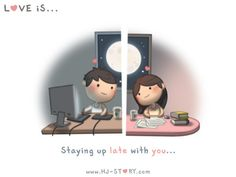 Love Facts : Picture Description Check out the comic HJ-Story :: Love is… Staying Up Late With You Hj Story, Cute Love Stories, Love Story, Distance Love, Long Distance, Love Facts, Staying Up Late, Cute Love Cartoons, Love Quotes For Boyfriend