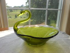 Vintage Olive Green Viking Glass Epic Swan Candy/Nut dish. Mid-Centry. $25 by MauraLynnsCollection on Etsy.com. Use coupon code Pin10 for 10% discount.