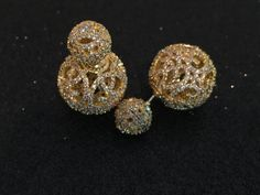Vintage Gold Pave Ball Studs. Elegant Wedding Jewelry Earrings. Vintage Bridal earrings, body Kandy Couture