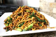 Ground pork and bok choy lo mein noodles with black bean sauce : asian, pasta