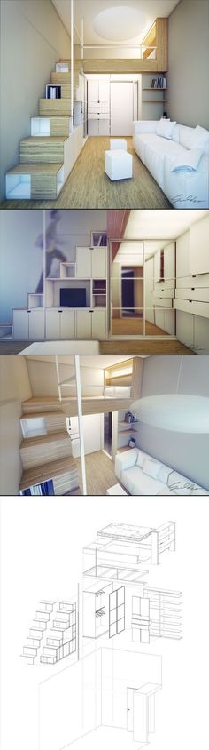 Mezzanine pour chambre côté rue. Rangement sous/dans escalier. Facile d'y intégrer bureau si besoin pour plus tard.: