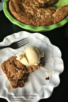 This Crustless Gluten-Free Chocolate Chip Pie is delicous served with ice cream, whipped cream, and easy to substitue your favorite flavor of chips!