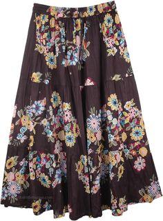 maxi skirt Women/'s pleated skirt in pure printed cotton Stylized flowers design cotton skirt elegant skirt summer