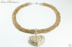 Carmen  features 24 twisted strands of golden by #LoveChristines #love #fashion #jewelry #necklace, #heart #Etsy