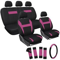 Oxgord 17pc Set Flat Cloth Mesh / Pink & Black Auto Seat Covers Set - Airbag Compatible - Front Low Back Buckets - 50/50 or 60/40 Rear Split Bench - 5 Head Rests - Universal Fit for Car, Truck, Suv, or Van - FREE Steering Wheel Cover - http://www.caraccessoriesonlinemarket.com/oxgord-17pc-set-flat-cloth-mesh-pink-black-auto-seat-covers-set-airbag-compatible-front-low-back-buckets-5050-or-6040-rear-split-bench-5-head-rests-universal-fit-for-car-truck-su/  #17Pc, #5050, #