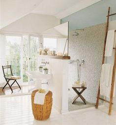 Open Bath Design--i designed an open shower behind the vanity in a floor plan once--i really like this one!