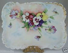 ANTIQUE LIMOGES VANITY TRAY/ PLATE HAND PAINTED PANSY FLOWERS ARTIST SIGNED 1898