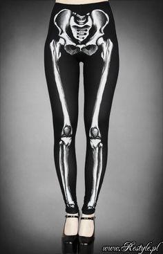 Legginsy szkielet z grafiką kości horror | DODATKI \ Rajstopy | Restyle.pl