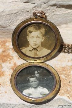 Antique Victorian Gold FIlled Locket with Chain and Photos