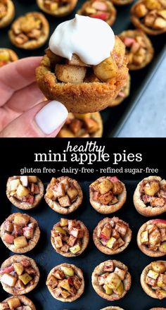 Healthy Recipes These healthy mini apple pies are made from wholesome natural ingredients like apples, almond flour, and coconut sugar. They are gluten free and dairy free, and they taste like fall in a little mini pie! Paleo Dessert, Healthy Dessert Recipes, Vegan Desserts, Gluten Free Dairy Free Desserts, Heart Healthy Desserts, Sugar Free Snacks, Dairy Free Baking, Appetizer Dessert, Greek Desserts