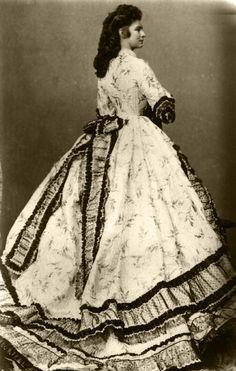 "Empress Elisabeth Amalie Eugenie ""Sissi"" Bavaria, wife of Emperor Franz Joseph I Austria, wearing a crinoline in by Ludwig Angerer. Victorian Era, Victorian Fashion, Vintage Fashion, Victorian Women, Historical Costume, Historical Clothing, Vintage Gowns, Vintage Outfits, Vintage Photographs"