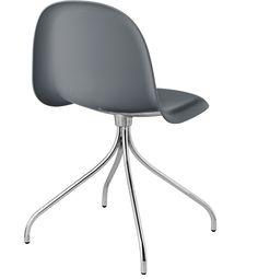 Gubi Chair, shell HiRek, Midnight Grey, Swivel base in chrome