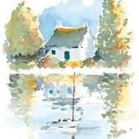 Imaginons le tableau : un chevalet, une toile et nous devant, peignant une aquarelle de maison au bord de l'eau
