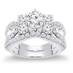 2.50 Carat Diamond Engagement Ring Set